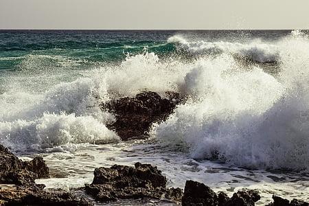 bølger, steinete kysten, erosjon, sjøen, vann, væske, natur