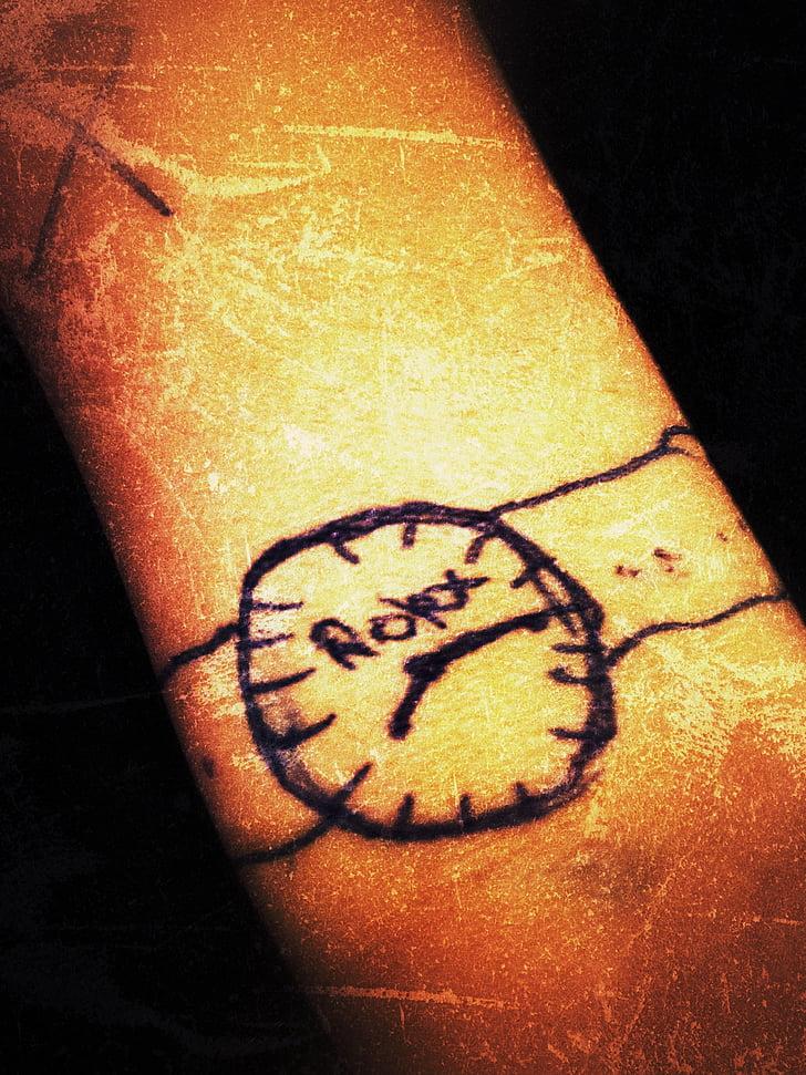 veure, tatuatge, rellotge de canell, rellotge de polsera, rellotge analògic, Arts, artística