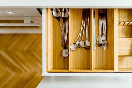 casa, cuina, interior, Estris, Cullera, forquilla, culleradetes