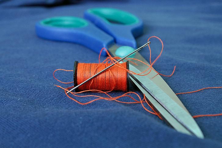 sewing, line, scissors, needle, tissue, cloth, thread