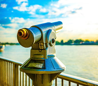 rhine, telescope, river, cologne, distant view, metal, coins telescope