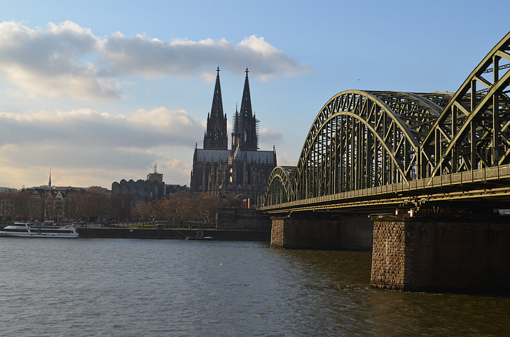 Cologne panorama, Jembatan Hohenzollern, Kastil Cologne, Rhine, arsitektur, bangunan, Cologne