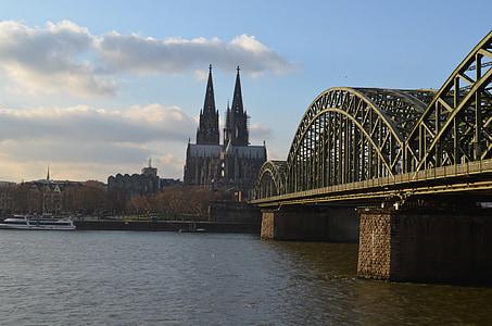 Cologne panorama, Cầu Hohenzollern, Nhà thờ Cologne cathedral, sông Rhine, kiến trúc, xây dựng, Cologne