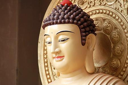 Buddha szobrok, Kína, arany, Shakyamuni buddha, buddhizmus, Ázsia, Buddha