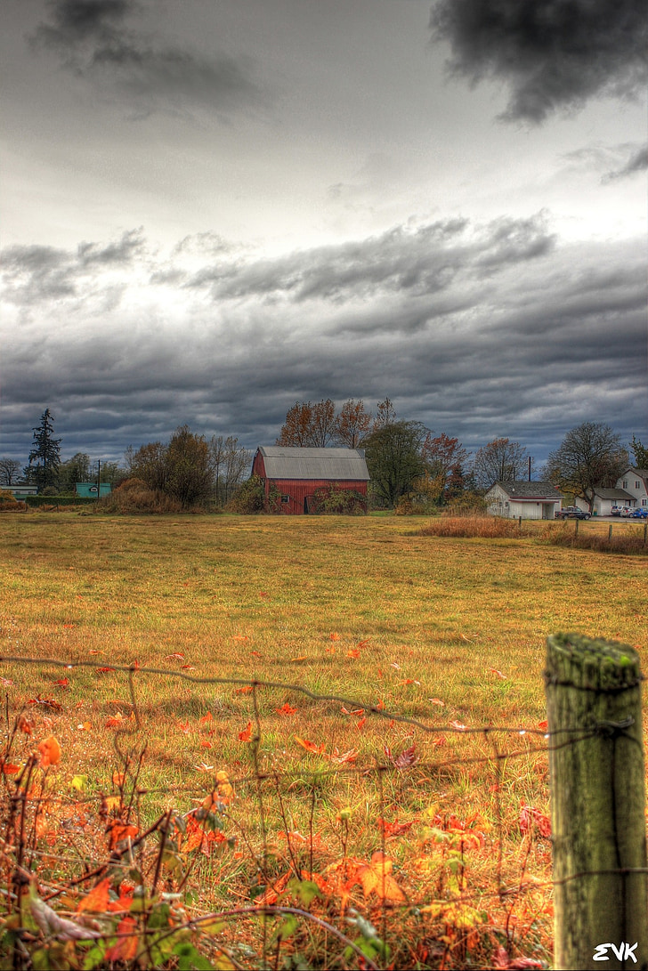 red, barn, country, nature, clouds, beautiful