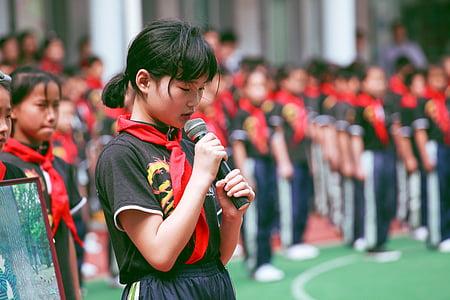 pupils, school, children, red scarf, queue, sport, people