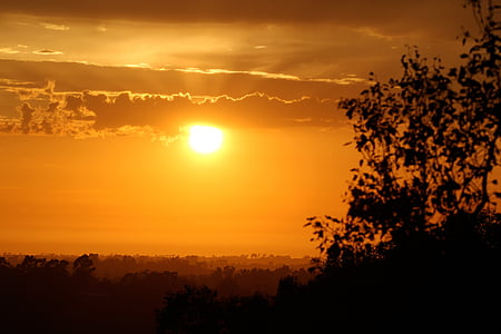 Закат, небо, огонь, Cloudscape, Вечер, облака, атмосфера