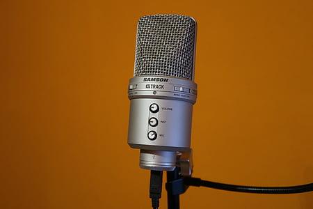 мікрофон, Самсон, Тема, помаранчеві стіни, Срібло, аудіо, запис