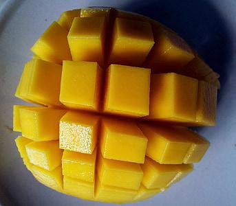 Mango uppskuren, öppnade mango frukt, frukt, saftiga, mat, Mogna, friska