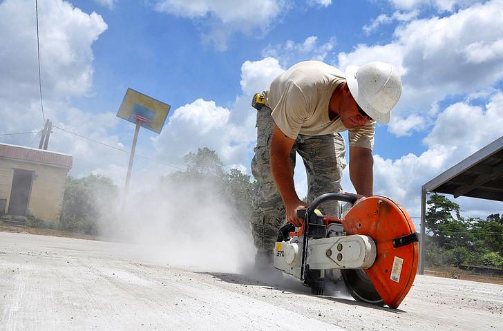 construction, worker, saw, concrete, job, labor, hardhat