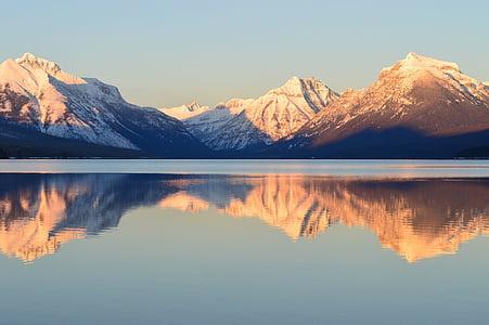 Llac mcdonald, reflexió, paisatge, panoràmica, escèniques, Parc, muntanya