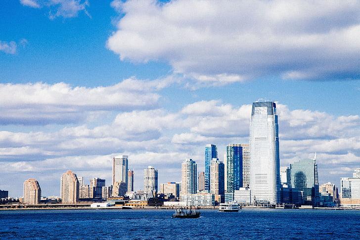 laiva, zila, organizācija, ūdens, netālu no, pilsēta, ēkas
