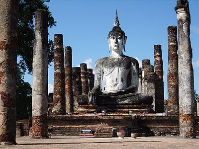 Sukhothai, Thaiföld, templom, romok, Buddha alakja, buddhizmus, Buddha