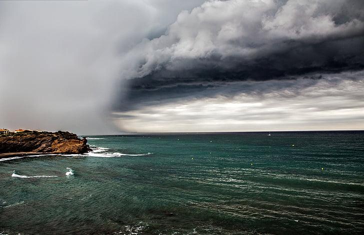 núvol, Mar, núvols grisos, cel ennuvolat, cel, núvol - cel, tempesta