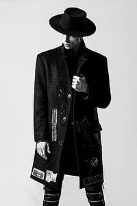 adult, en blanc i negre, moda, moda, Fedora, jaqueta, home