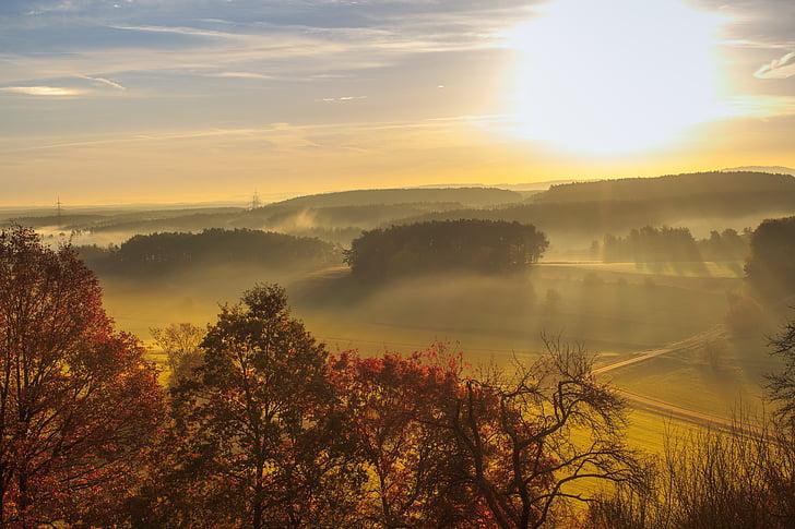 nascer do sol, Embora, paisagem, Morgenrot, natureza, árvores, estrada
