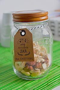 boks, glas, krukke, nødder, tørret frugt, container, butik