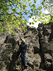 climb, child, top rope, sport, steep, climbing rope, climber