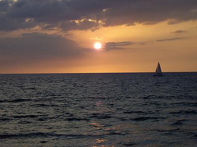 Havaji, sončni zahod, Ocean, nebo, oblaki, na prostem, scensko