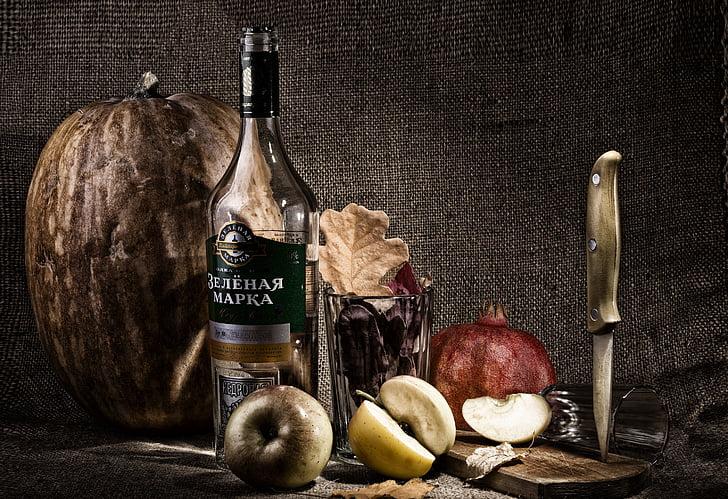 Natüürmort, foto, nuga, pudel, kõrvits, Sügis, meeleolu