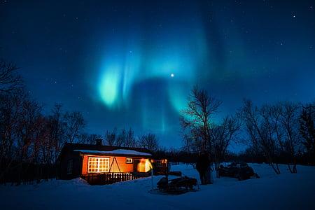 Aurora borealis, zila, kajīte, auksti, gaismas, naktī, Kāvi