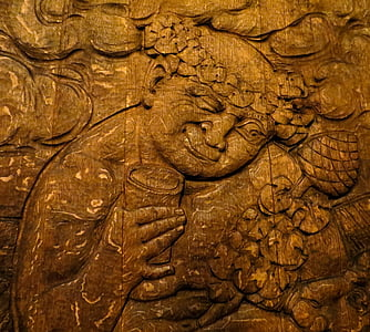 sculpture sur, Bacchus, Cave, tonneaux en bois, bois, tonneau de vin, conservation du vin