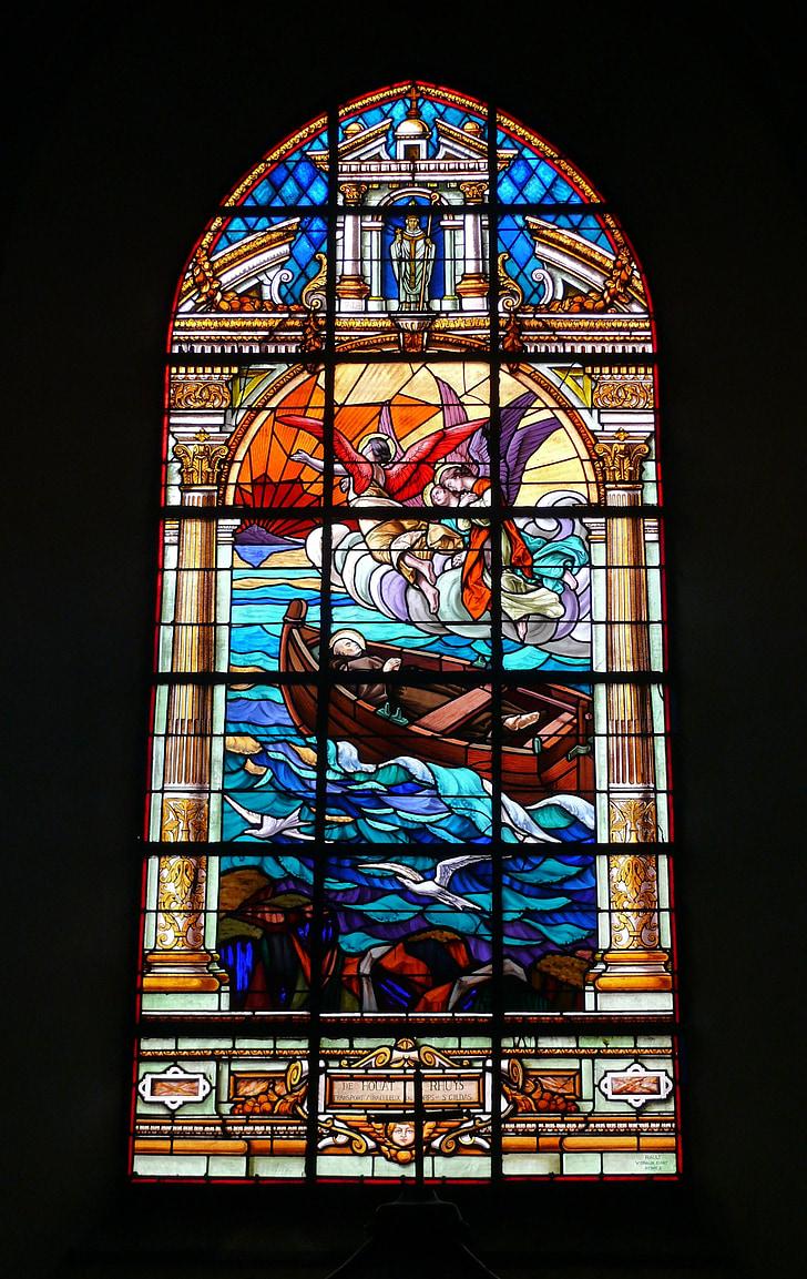 l'església, Vitrall, vidrieres, Sainte anne d'Auray, França