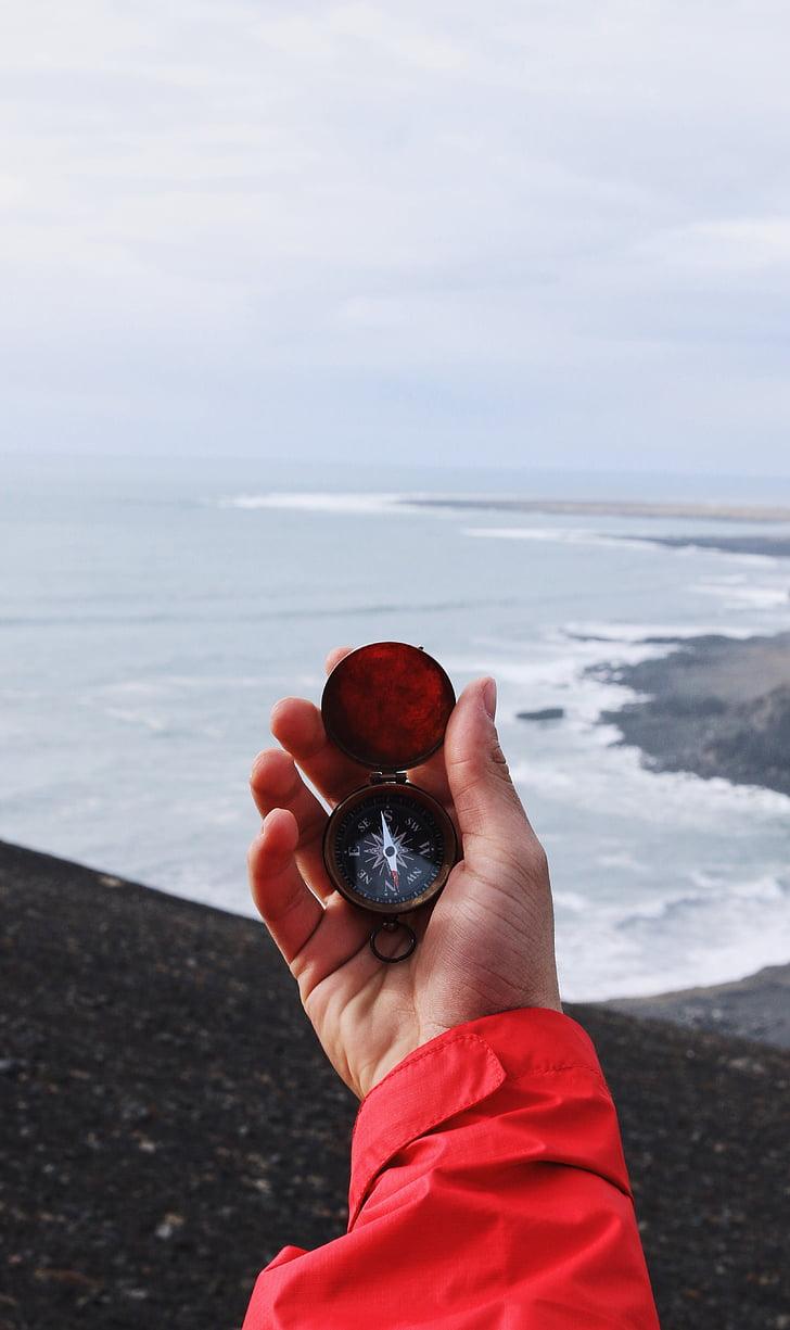 persoon, met behulp van, kompas, rubriek, Zuid, Oceaan, West beach