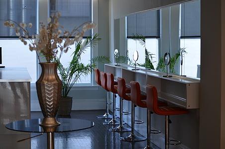 hair salon, spa, salon, seats, chairs, mirror, cosmetics