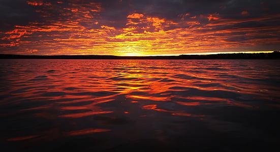 núvols, natura, oceà, Mar, sol, Alba, posta de sol