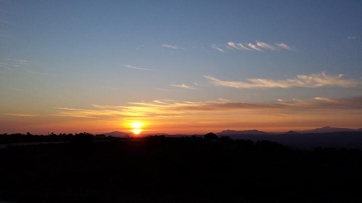 ηλιοβασίλεμα, ουρανός, σύννεφα, κόκκινο, τοπία, Ήλιος, απογευματινό ήλιο