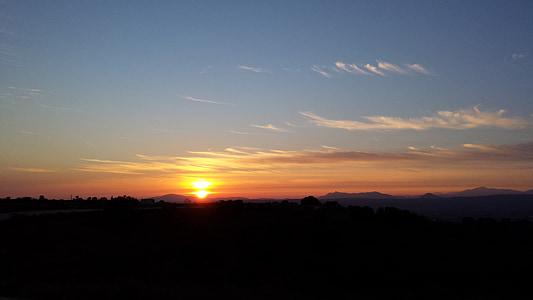 Sunset, taevas, pilved, punane, maastikud, päike, õhtupäike