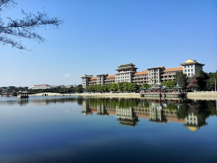 reflexió, Xiamen, disseny d'habitatges, Llac tranquil, disseny europeu, ciutat, poble