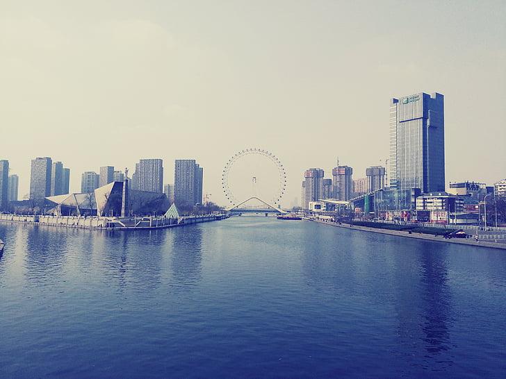 tianjin eye, the ferris wheel, haihe intersection, cityscape, urban Skyline, river, architecture