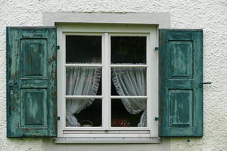 okno, migawki, drewno, zielony, niebieski turkus, stary, antyk