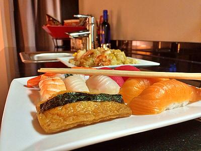 sushi, aliments, peix, marisc, japonès, àpat, arròs