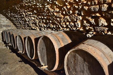Cave, baril, vin, France, Château, vieux tonneau, tonneau en bois
