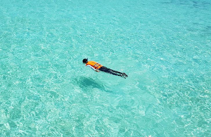 Malediivit, Snorklaus, uinti, Emerald, Sea, Coral beach, sininen meri