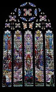 Glassmaleri, katedral vindu, katedralen, farget, kirke, vinduet, glass