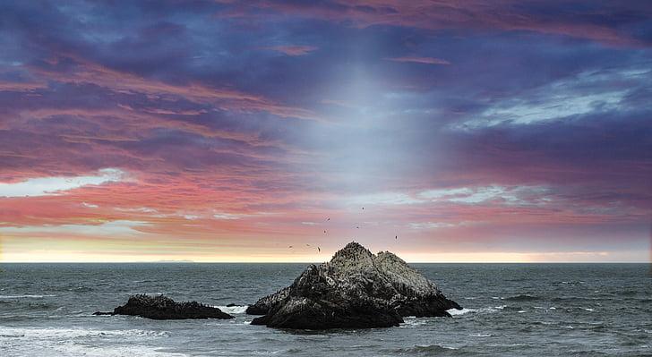 Costa, cel, l'aigua, oceà, Roca, fons