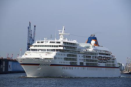 kryssningsfartyg, Hamburg, hamn, resor, maritima, Elbe, ship reser
