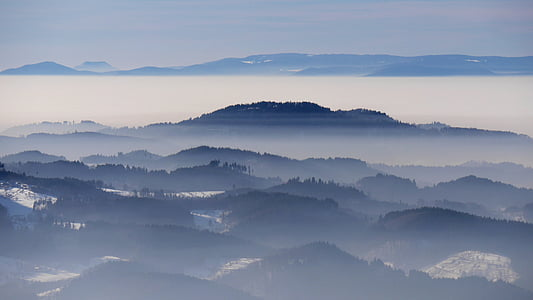 landscape, winter, sea of fog, black forest, rhine valley, wintry, nebellandschaft
