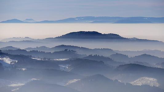 kraštovaizdžio, žiemą, jūros rūko, Juodasis miškas, Reino slėnis, žiemos, nebellandschaft