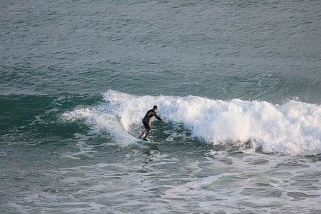 Surf, mer, vague, océan, plage, surfeur, sport