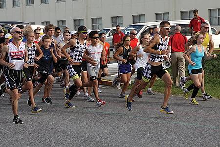 cursa triathalon, Marató, corrent, corredors, executar, cursa de 5K, Inici