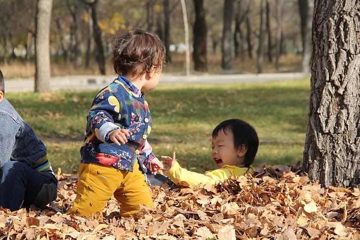 happy, kids, autumn