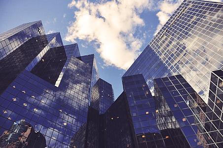 mirall, construït, edifici, ciutat, cel, reflexió, edificis alts