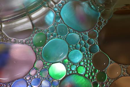 масло във вода, масло око, течност, абстрактни, текстура, макрос, масло
