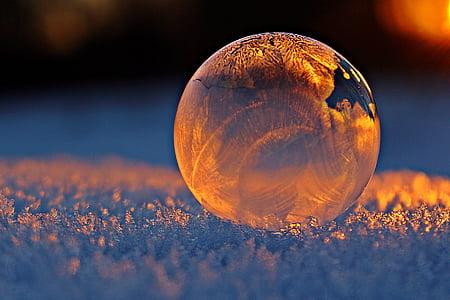 soap bubble, evening light, frost blister, eiskristalle, sunset, frost, snow