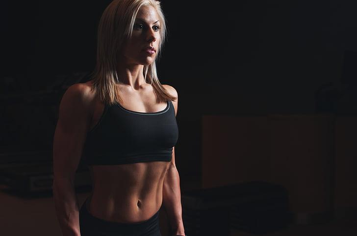 ABS, sportowiec, biceps, Blondynka, ciało, dopasowanie, fitness